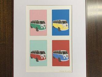 フレーム額装 CAR イラスト 「VW BUS」の画像