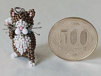 幸せの招き猫(マットブラウン&白)の画像