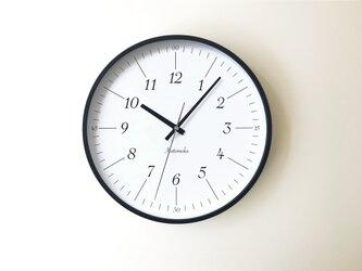 KATOMOKU plywood clock 18 km-110BLRC ブラック 電波時計 連続秒針の画像