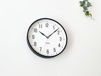 KATOMOKU plywood clock 19 km-111BLRC ブラック 電波時計 連続秒針の画像
