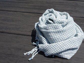 手織りコットン大判ストール・・フレンチブルーの画像