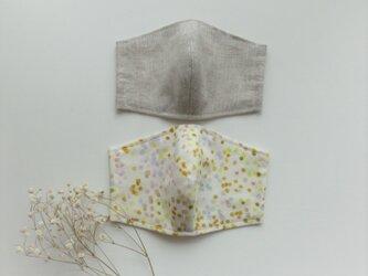 【お得な2枚セット】夏色マスク リネン(オートミール色)とダブルガーゼ(イエローベージュ)受注制作の画像