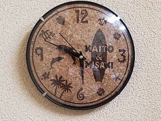【オリジナル時計】壁掛け時計 海 コルクの画像