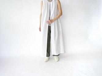 air tumbler cotton/tuck gather long onepiece/whiteの画像