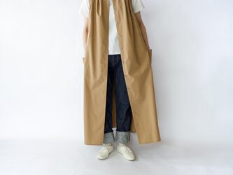 air tumbler cotton/tuck gather long onepiece/beigeの画像
