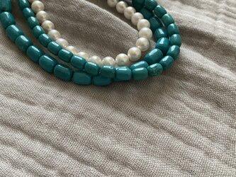 Stone  Necklaces (Turquoise:マグネサイトターコイズ:)9×7の画像