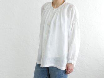 リネン ふんわり羽織りギャザーブラウス (ホワイト)の画像