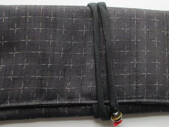 4876 絣柄の着物で作った和風財布・ポーチ #送料無料の画像