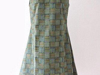 着物リメイク:襟付きリボンワンピース(グリーン)の画像