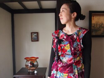 kimono くしゅくしゅトップス 正絹付下げの画像