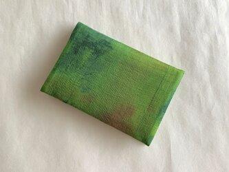 絹手染カード入れ(古生地・緑系)の画像