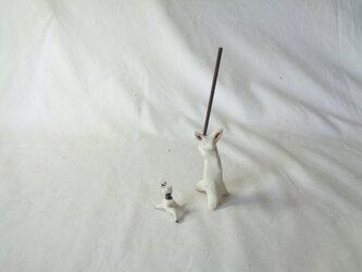 香立てウサギとパンダ(野球)の画像