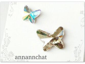 【スワロフスキー 二羽の蝶(クリスタルシルバーシェイド・クリスタルオーロラ)幸運のピンブローチ】2個セットの画像