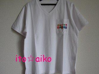 ポケットにカラフルデザイン☆☆爽やかコットンTシャツ♪(シロ)の画像