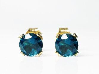 輝く2粒。ロンドンブルー・トパーズのピアス [送料無料]の画像