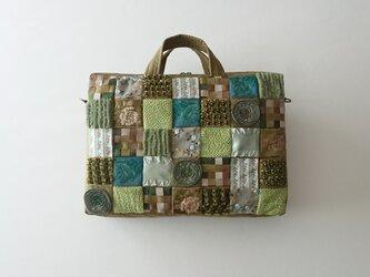 ribbon tile 2way bag (green)の画像