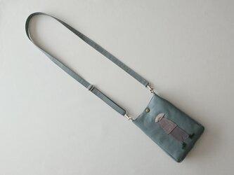 annco leather pochette (blue gray)の画像