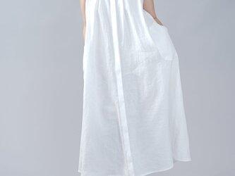 【wafu】やや薄地 リネン ノースリーブ ワンピース スタンドカラーワンピース ギャザー 羽織/ホワイト a015a-wht1の画像