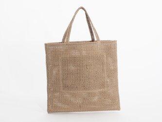 mesh fake leather hand bag(ベージュ)人工皮革/33×33/MB005の画像
