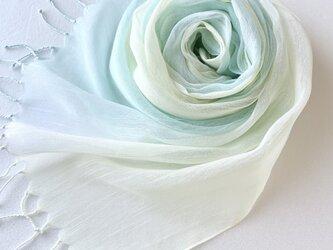かろやかコットンシルク*青竹色×淡檸檬色*手染めのストールの画像