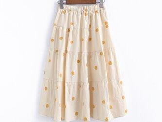 イエロー/パープル/ブラック ドットのスカート ロングスカートの画像