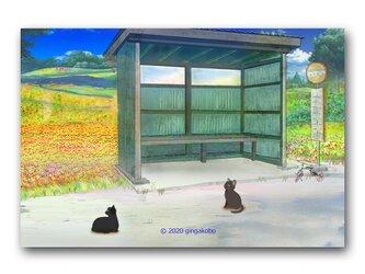 「ん!?、やっと帰ってきたあ^^おかえりー^^」 ほっこり癒しのイラストポストカード2枚組 No.1073の画像