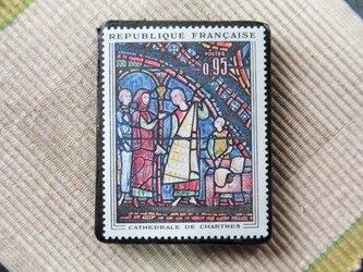 フランス 美術切手ブローチ6190の画像