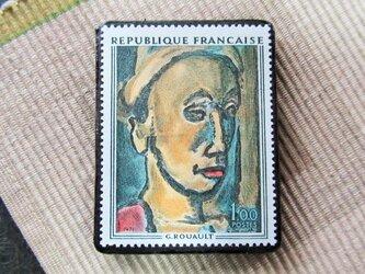 フランス 美術切手ブローチ6198の画像