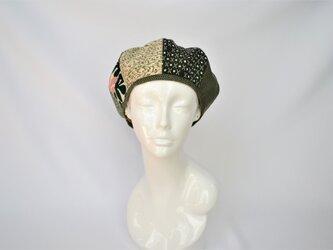 着物地ベレー帽:グリーン・着物リメイク/2営業日以内発送/国内送料無料/2005b06の画像