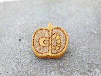 りんご1(ゴールド) 陶土ブローチの画像