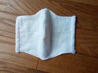 メンズ立体マスク 両面ダブルガーゼ(ホワイト×キナリ)の画像
