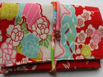 4877 花柄の着物で作った和風財布・ポーチ #送料無料の画像