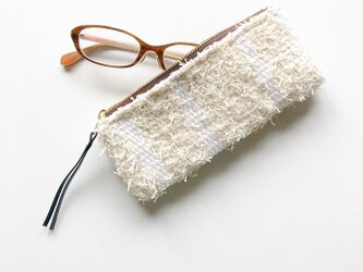 『 snow stripe』めがねポーチ めがねケース 手織りの画像