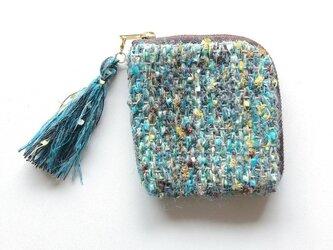 『みずうみ』 カードポーチ 手織り コスメ コイン の画像