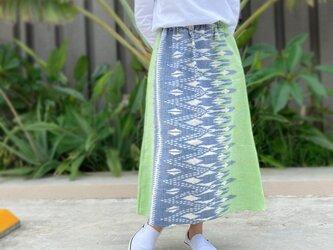 84㎝丈、草木染ミックス、手織絣綿のロングスカートの画像