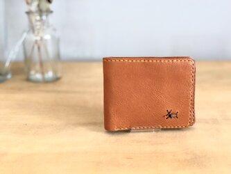 栃木レザー 手縫いの二つ折り財布 (マスタード)の画像
