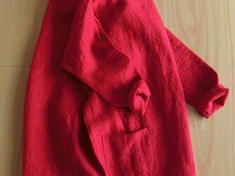 ハンドメイド 麻100 コクーンシルエットプルオーバー 綺麗な赤 ポケット 七~八分袖 リネンの画像