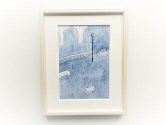 「ベンチ」イラスト原画 ※額縁入りの画像