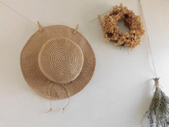 【kids S/49cm】マニラヘンプのキッズ帽子*麦わら風帽子*手洗い可*ストロー/麦わら色の画像