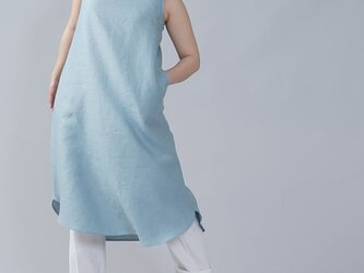 【wafu】中厚地 リネン ノースリーブワンピース リネンワンピース 裾ヘム リネンドレス/スカイミント a069c-skm2の画像