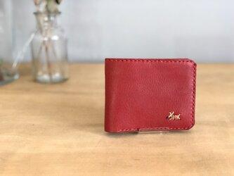 栃木レザー 手縫いの二つ折り財布 (赤)の画像