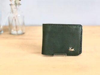 栃木レザー 手縫いの二つ折り財布 (緑)の画像