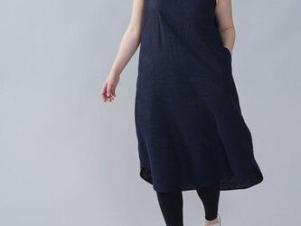 【wafu】中厚地 リネン ノースリーブワンピース リネンワンピース 裾ヘム リネンドレス/ネイビー a069c-neb2の画像