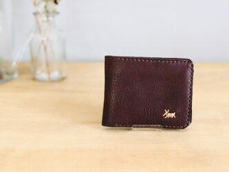 栃木レザー 手縫いの二つ折り財布 (焦げ茶)の画像