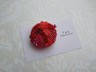 刺繍ブローチ Circle Redの画像