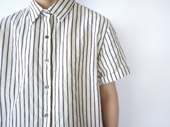 original cotton linen/ short sleeve shirt/whiteの画像