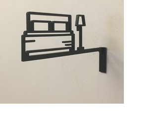ベッドルームサイン 中抜きタイプ ゲストルームの画像