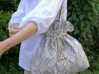 ★大人可愛い柔らか巾着バッグ 7002★ グレージュ ショルダー トート 母の日 プレゼントの画像