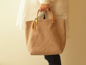 5/31まで手染め帆布トートバッグSサイズ □はしばみ色□の画像
