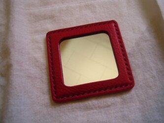 【I様オーダー品】イタリア製牛革の携帯ミラー(赤色)の画像